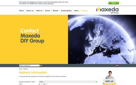 Screenshot of Contact Page maxedadiygroup.com - Address information - Maxeda DIY Group - captured March 13, 2018