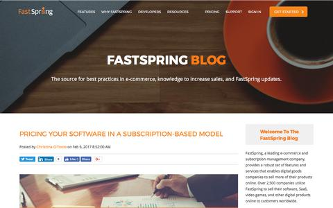 Screenshot of Pricing Page fastspring.com - Pricing Your Software In A Subscription-based Model - captured Aug. 11, 2017