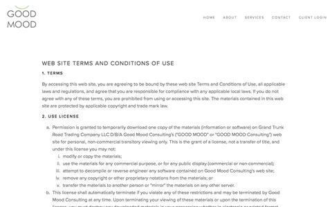 Screenshot of Terms Page askgoodmood.com - Terms & Conditions — GOOD MOOD Consulting - Providing on-demand operations and marketing services to early stage companies - captured Sept. 26, 2018