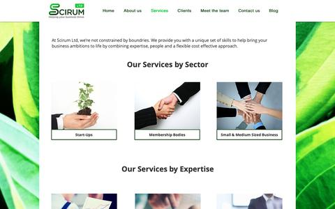 Screenshot of Services Page scirum.biz - Our services by sector and by expertise - captured Sept. 27, 2018
