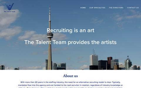 Screenshot of Home Page thetalentteam.ca - The Talent Team - captured Sept. 21, 2018
