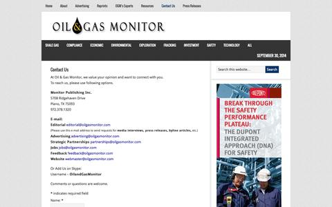 Screenshot of Contact Page oilgasmonitor.com - Contact Us - Oil & Gas Monitor - captured Sept. 30, 2014
