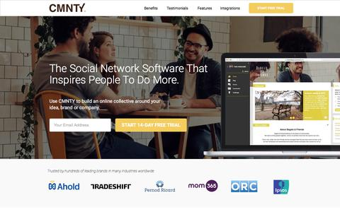 Screenshot of Landing Page cmnty.com - The Social Network Software that inspires people to do more. - captured May 19, 2018