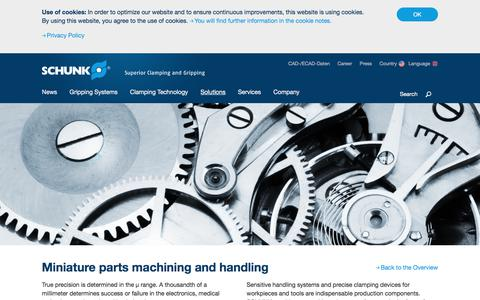 Miniature parts machining and handling