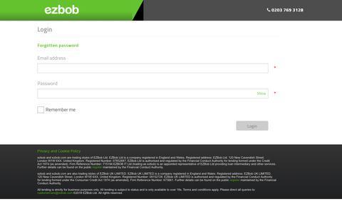 Screenshot of Login Page ezbob.com - Login to your ezbob Account - captured Oct. 31, 2019