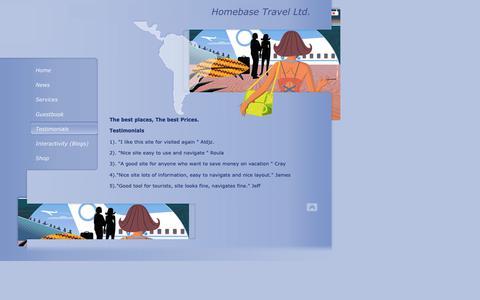 Screenshot of Testimonials Page homebasetravel.net - Homebase Travel Ltd. - captured Sept. 29, 2018