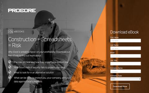 Screenshot of Landing Page procore.com - Construction + Spreadsheets = Risk - captured March 15, 2016