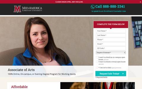 Screenshot of Landing Page macu.edu - Associate of Arts - Mid-America Christian University - captured April 7, 2017