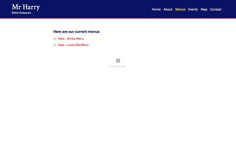 Screenshot of Menu Page mrharryshanghai.com - Mr Harry | British Restaurant - captured Feb. 22, 2016