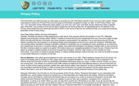 Screenshot of Privacy Page petkey.org - Privacy Policy | petkey ™ - captured Sept. 23, 2014