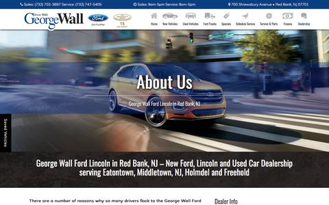 Screenshot of About Page georgewall.com - New and Used Car Dealer in Red Bank | George Wall Ford Lincoln - captured July 29, 2017