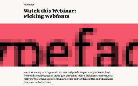 Screenshot of Landing Page monotype.com - Webinar: Picking Webfonts - captured Feb. 5, 2017