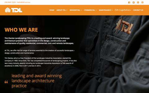 Screenshot of About Page tdl.com.au - About us | Tim Davies Landscaping - captured Feb. 17, 2016