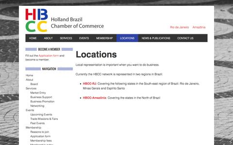 Screenshot of Locations Page hbcc.com.br - Locations - Holland Brazil Chamber of Commerce RJ - captured Oct. 8, 2014