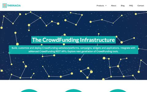 Screenshot of Home Page thrinacia.com - Thrinacia :: The CrowdFunding Infrastructure. Powering CrowdFunding Websites, Applications and Campaigns. Create CrowdFunding Platform or Start CrowdFunding Campaign. Build or Create Next Generation of CrowdFunding or Fundraising Services and Product - captured Dec. 23, 2016