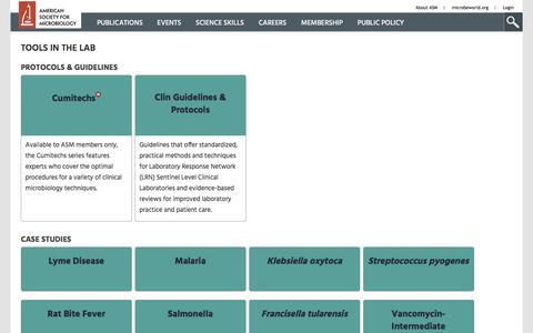Screenshot of Case Studies Page asm.org - In the Lab - captured Nov. 20, 2016