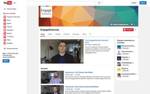 Screenshot of YouTube Page youtube.com - EngageSciences  - YouTube - captured Oct. 28, 2014