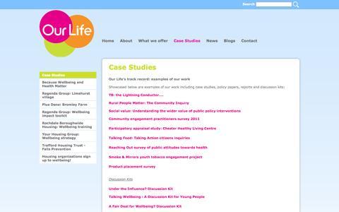 Screenshot of Case Studies Page ourlife.org.uk - Our Life | Case Studies > Case Studies - captured Sept. 30, 2014
