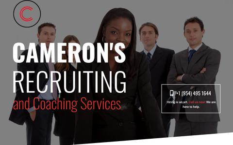 Screenshot of Home Page ccahr.com - CCAHR – Cameron's Recruiting and Coaching Services - captured Sept. 26, 2018