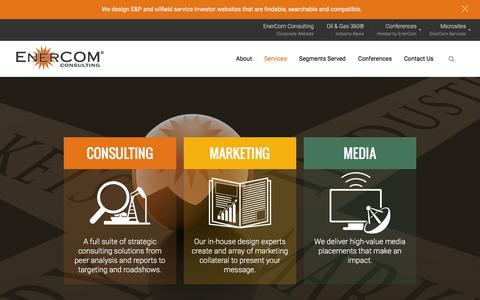 Screenshot of Services Page enercominc.com - EnerCom Services   Consulting, Marketing, and Media - captured Dec. 10, 2015