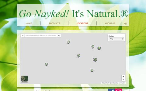 Screenshot of Locations Page naykedbotanicals.com - Nayked Botanicals | LOCATIONS - captured Oct. 20, 2018