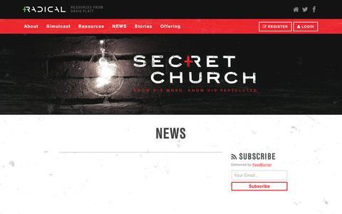 Screenshot of Press Page radical.net - Secret Church · Secret Church News - captured Dec. 4, 2016