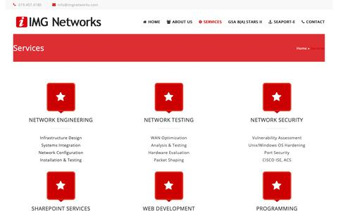 Screenshot of Services Page imgnetworks.com - Services | IMG Networks - captured Oct. 11, 2018