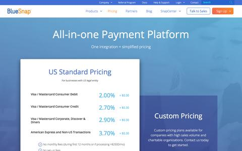 Screenshot of Pricing Page bluesnap.com - Pricing   BlueSnap - captured June 21, 2018
