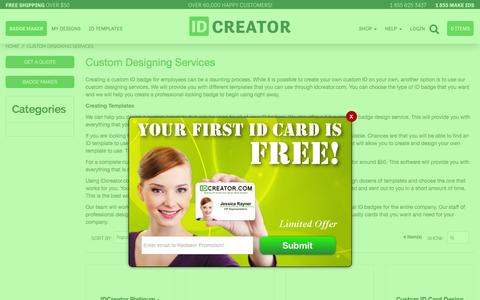 Screenshot of Services Page idcreator.com - Custom Designing Services - captured July 13, 2016