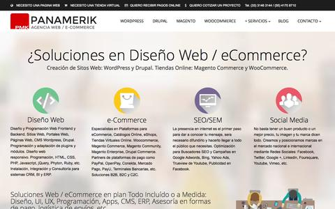 Screenshot of Home Page panamerik.com - e-Commerce Mexico, Tiendas Magento, Woocommerce, Drupal, Diseño Web - captured Sept. 24, 2014