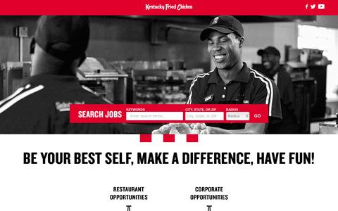 Screenshot of Jobs Page kfc.com - Jobs and Careers at KFC - captured March 20, 2016