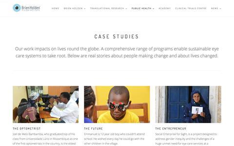 Screenshot of Case Studies Page brienholdenvision.org - CASE STUDIES - captured Feb. 2, 2018
