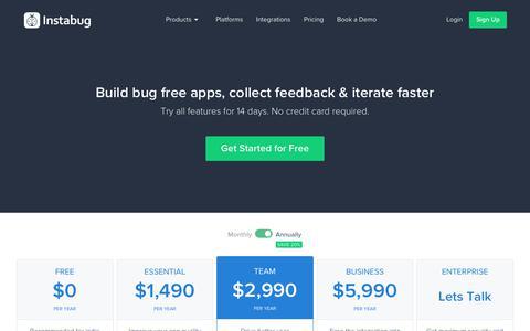 Screenshot of Pricing Page instabug.com - Pricing | Instabug - captured March 30, 2019