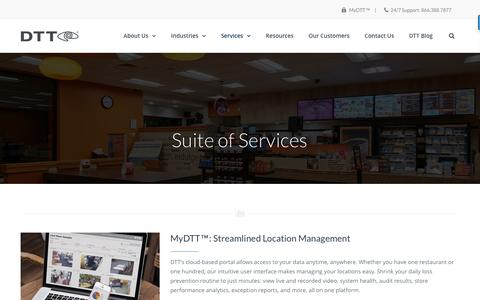 Screenshot of Services Page dttusa.com - DTT Suite of Services - captured March 25, 2017