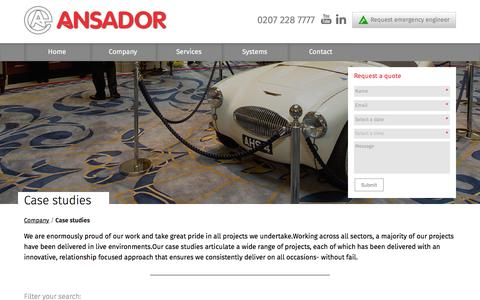 Screenshot of Case Studies Page ansador.co.uk - Case studies | Ansador - captured Feb. 6, 2016