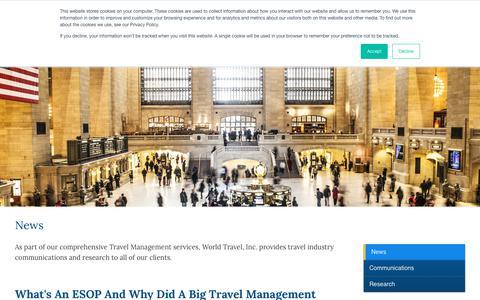 Screenshot of Press Page worldtravelinc.com - World Travel Inc - News - captured Oct. 20, 2018