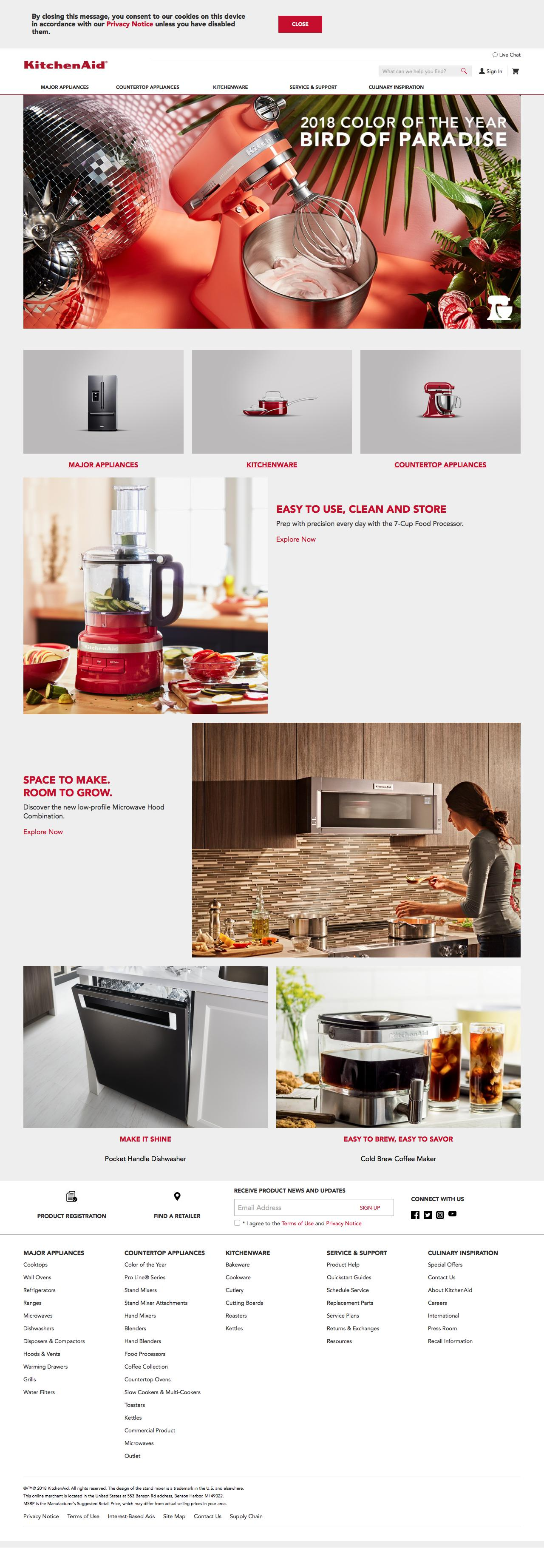 Screenshot of kitchenaid.com - Kitchen Appliances to Bring Culinary Inspiration to Life | KitchenAid - captured May 17, 2018