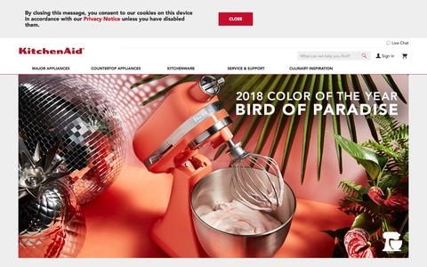 Screenshot of Home Page Login Page kitchenaid.com - Kitchen Appliances to Bring Culinary Inspiration to Life | KitchenAid - captured May 17, 2018