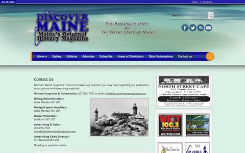 Screenshot of Contact Page discovermainemagazine.com - Discover Maine Magazine, Maine's Original History Magazine. Advertise, subscribe to Discover Maine Magazine - captured Jan. 1, 2017