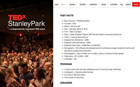 Screenshot of Press Page tedxstanleypark.com - Media :: TEDxStanleyPark - captured Sept. 20, 2018