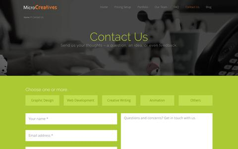 Screenshot of Contact Page microcreatives.com - Get Started with Your Creative Project | MicroCreatives - captured July 8, 2016