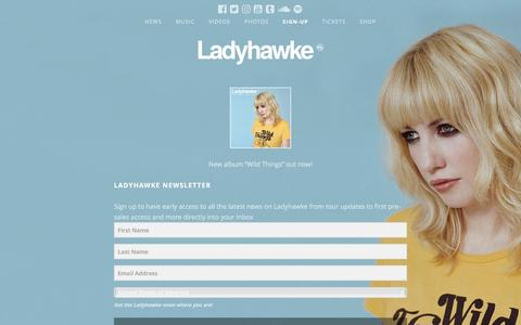 Screenshot of Signup Page ladyhawkemusic.com - Ladyhawke | Newsletter - Sign Up - captured Jan. 5, 2017