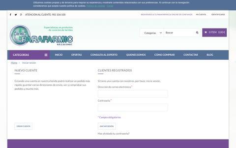 Screenshot of Signup Page parafarmic.com - Acceso del cliente - captured Jan. 22, 2016