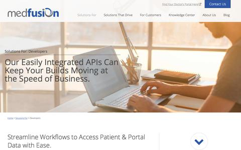 Screenshot of Developers Page medfusion.com - Quickly access patient data with the best healthcare APIs - Medfusion - captured July 7, 2017