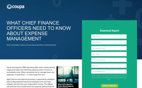 Screenshot of Landing Page coupa.com - What CFOs Need to Know About Expense Management | Travel and Expense Management | Coupa Software - captured April 5, 2017