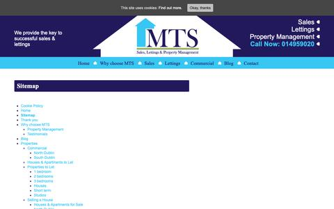 Screenshot of Site Map Page mtsproperty.com - Sitemap - MTS Property - captured Oct. 1, 2018