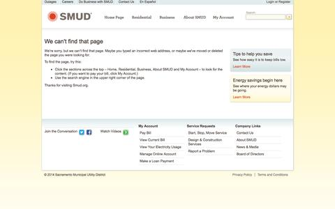 Screenshot of Privacy Page Contact Page Jobs Page Support Page smud.org - smud.org - captured Oct. 26, 2014