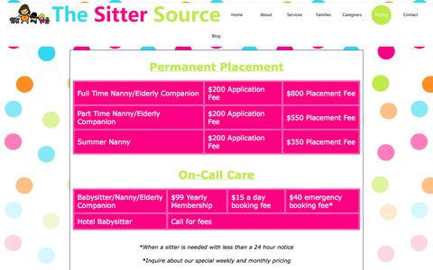Screenshot of Pricing Page thesittersource.com - The Sitter Source - captured Sept. 30, 2014