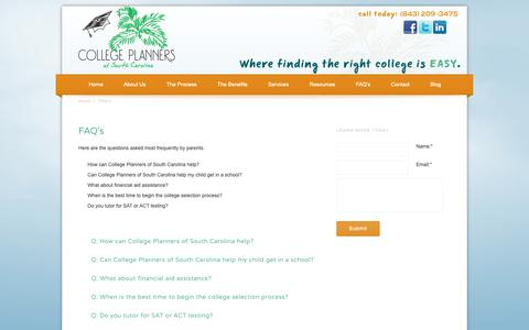 Screenshot of FAQ Page sccollegeplanners.com - FAQ's   College Planners of South Carolina   Educational Consultants in South Carolina - captured Sept. 29, 2018