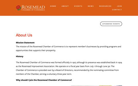 Screenshot of About Page rosemeadchamber.org - Our Mission — Rosemead Chamber of Commerce - captured Oct. 20, 2018